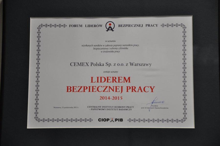 CEMEX Polska otrzymał kartę Lidera Bezpiecznej Pracy.