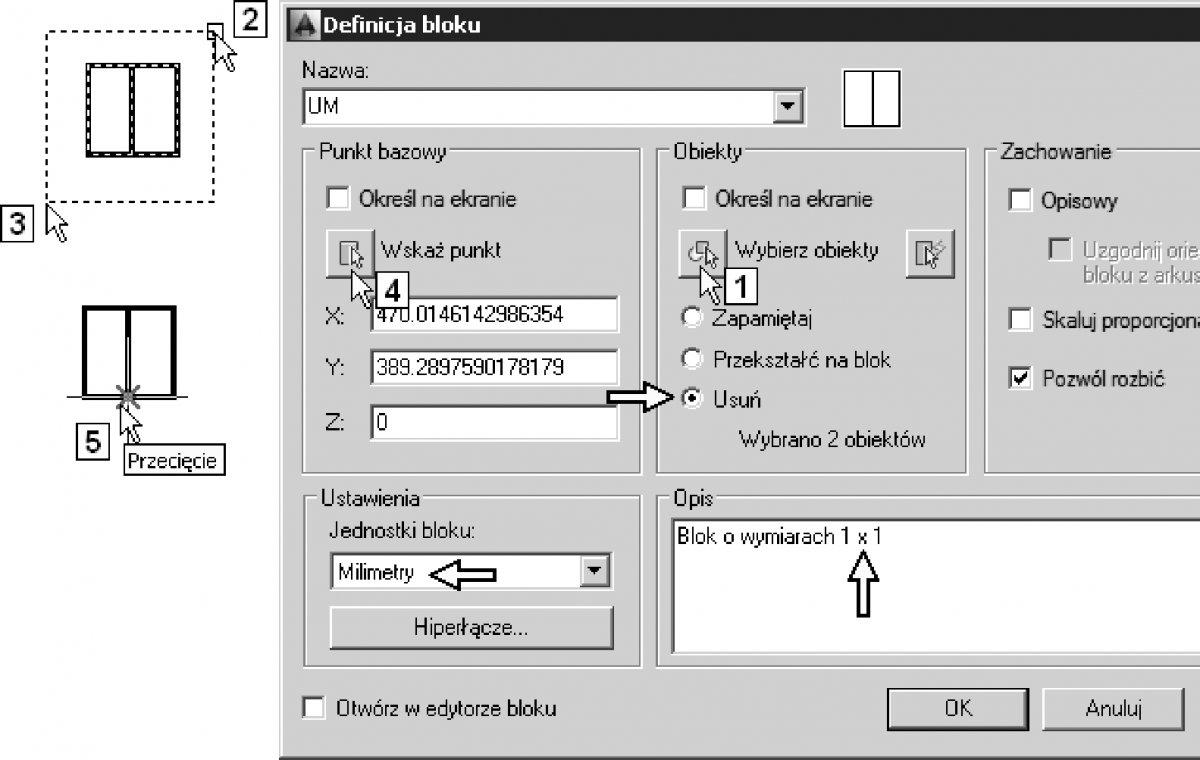 Ćwiczenia w definiowaniu i edycji definicji bloków