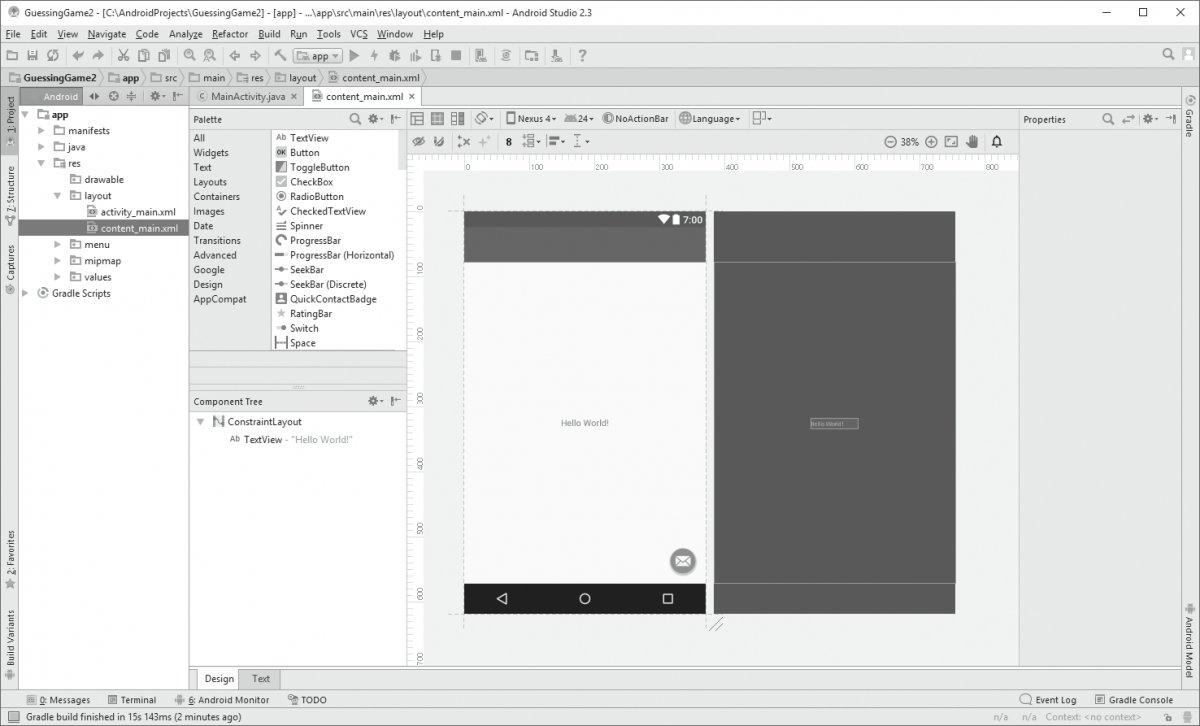 Budowanie układu GUI w widoku projektu